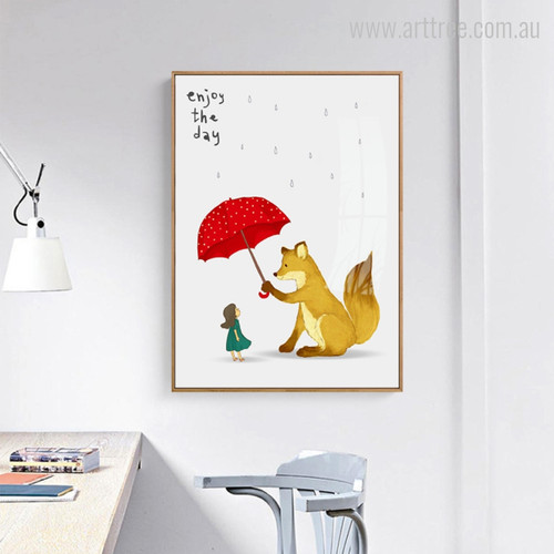 Saving the girl from Rain by Fox, Enjoy the Day Words Wall Art