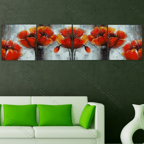 Orange-Yellow Mallow Floral Home Decor Painting