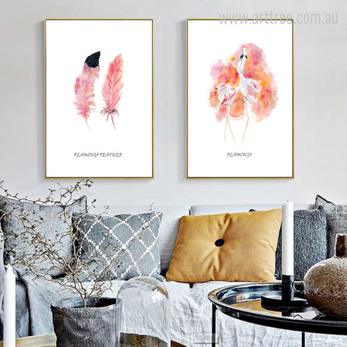 Watercolor Flamingo Feather Digital Modern Art