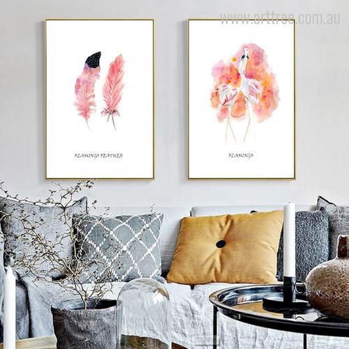 Watercolor Flamingo Feather Digital Modern Art