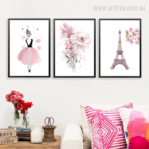 Watercolor Pink Dress Lady, Flowers, Paris Eiffel Tower Girls Wall Art