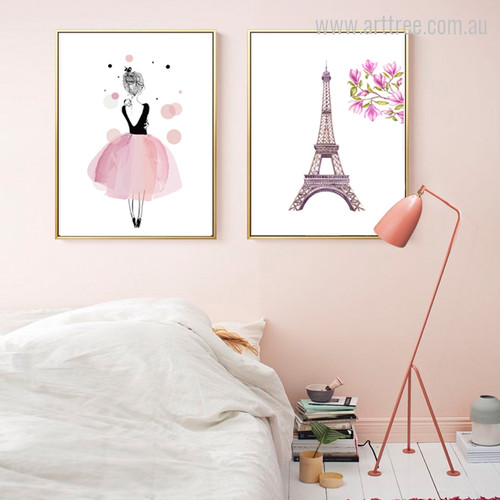 Watercolor Pink Girl Dress, Eiffel Tower Girls Wall Art