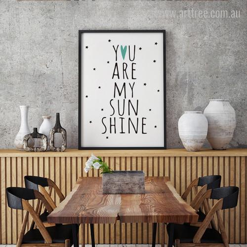You Are My Sun Shine Words, Stars Kids Wall Art