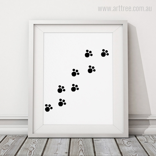 Black and White Animal Paws Digital Wall Art