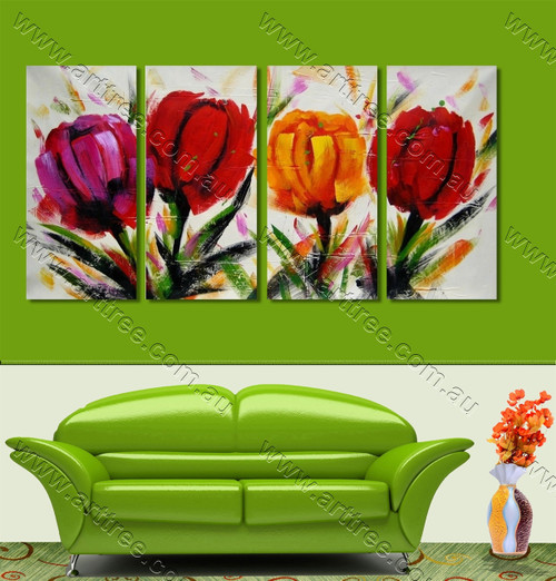 Colorful Roses Pattern Split Oil Painting
