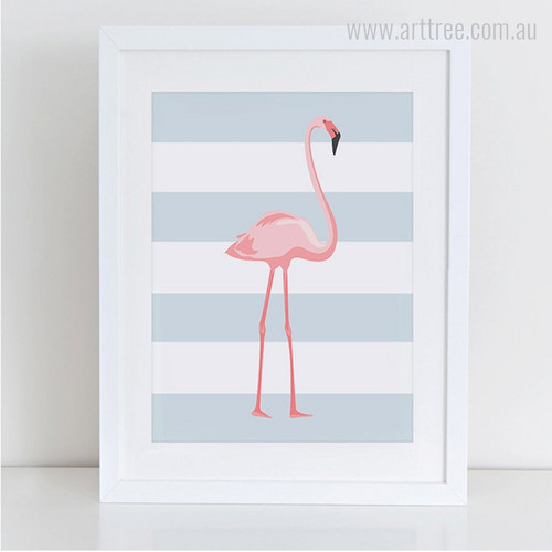 Pink Long Legged Flamingo Bird Photo Canvas Print