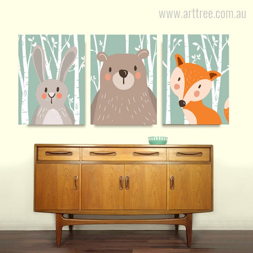 Bunny, Bear, Fox Forest Cartoon Animals Boy Girl Wall Art