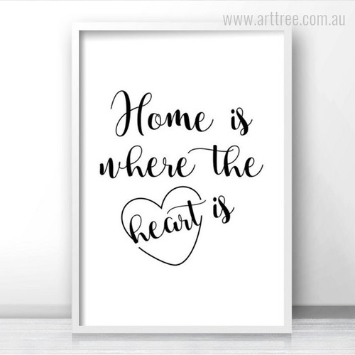 Home is Where the Heart is Quote Art Print