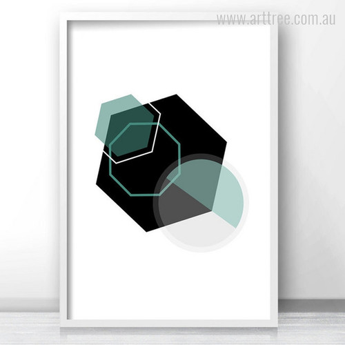 Black and Green Geometric Hexagon Wall Art Print
