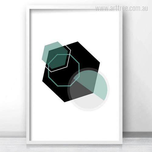 Black and Green Geometric Hexagon Wall Art Print
