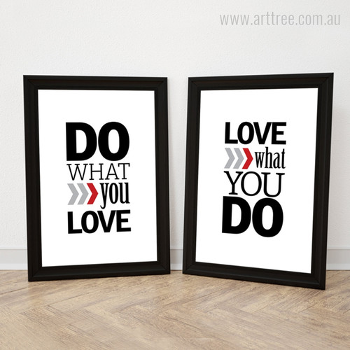 Do What You Love, Love What You Do Motivational Quotes Print Set