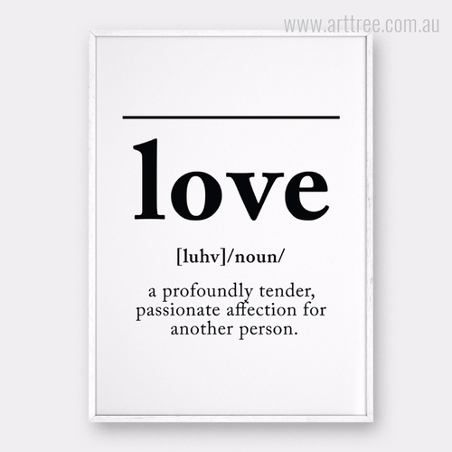 LOVE Definition Black and White Canvas Print