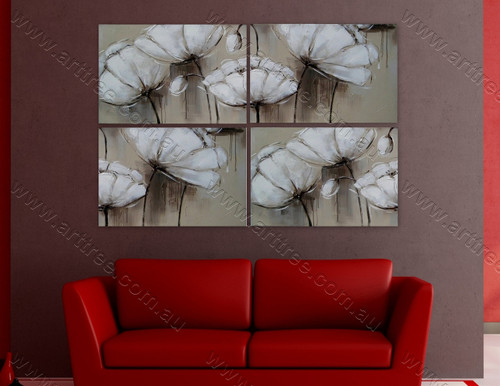 White Peony Floral multi panel canvas painting