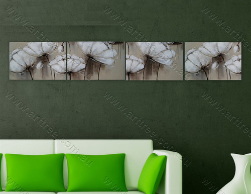 White Peony Floral Canvas Painting Home Decor