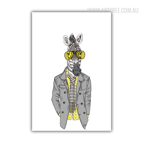 Hipster Style Dressed Yellow Shirt Goggle Zebra Fashion Animal Art Print