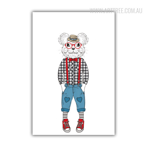 Hipster Style Dressed Cute Rat Fashion Animal Art Print