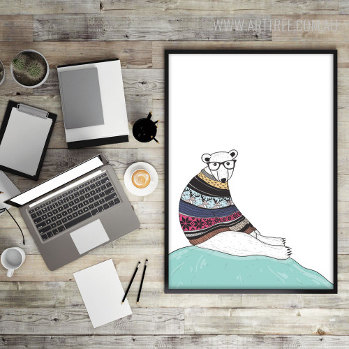 Modern Hipster Polar Bear Fashion Animal Photo Canvas