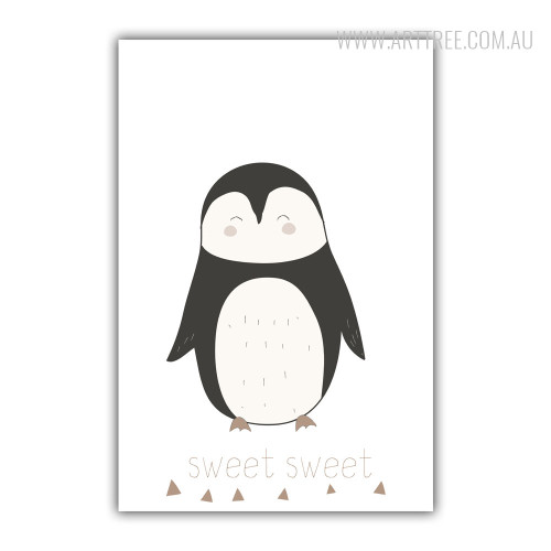Sweet Sweet Penguin Bird Small Brown Triangles Photo Canvas Print