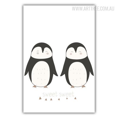 Sweet Sweet Penguin Bird Couple Wall Art