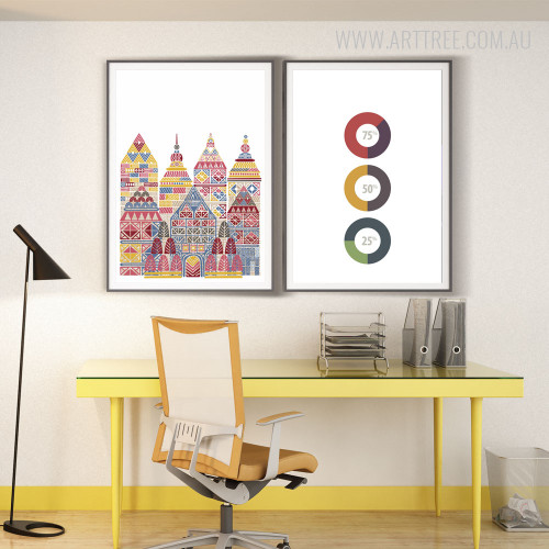 Colorful Temples and Percentage Index Modern Wall Art
