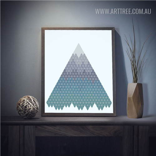 Mountain Made by Geometric Triangles Modern Wall Art