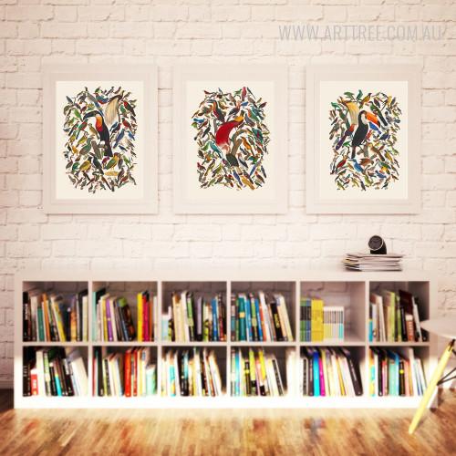 Retro Colorful Birds Fresco Canvas Wall Art