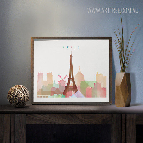 Paris Cityscape Watercolor Photo Canvas Print