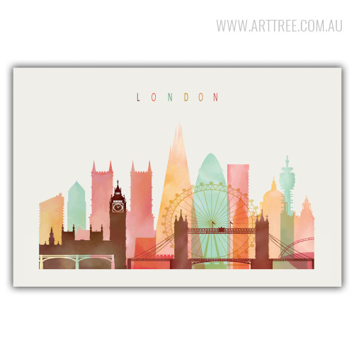 London Cityscape Watercolor Canvas Wall Art