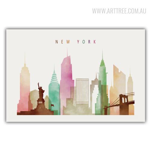 Newyork Cityscape Watercolor Canvas Wall Art