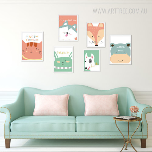 Happy Birthday Cat, Hello Dog, Fox, Hippo Greeting Animals Canvas Prints