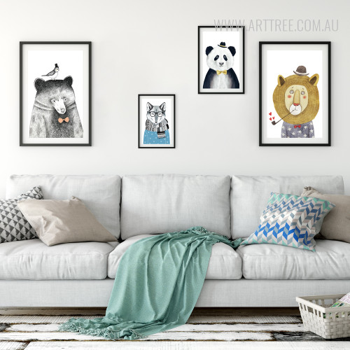 Grey Bear, Blue Fox, Panda, Lion Wild Animal Prints