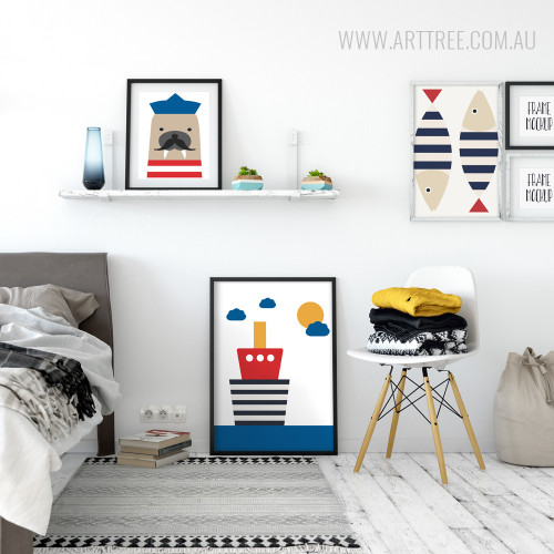 Cute Seal Sailor, Ship, Fishes Large Nursery Wall Art