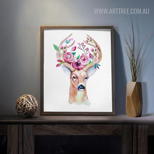 Modern Watercolor Deer Animal Flory Antler Canvas Print