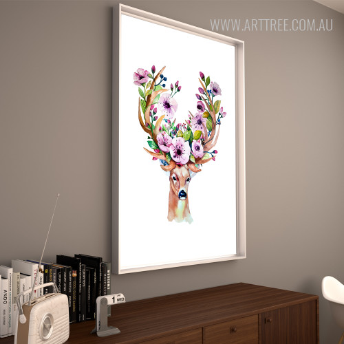 Modern Watercolor Deer Animal Purple Flory Antlers Wall Art