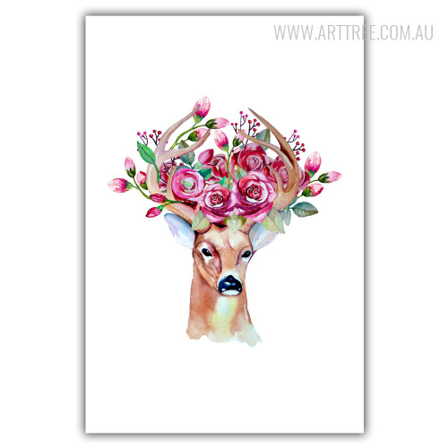 Modern Watercolor Deer Animal Red Rose Flory Antler