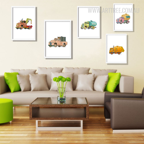 Modern Minimal Tow, Garbage, Milk, Beer, Vintage Trucks Kids Art Set