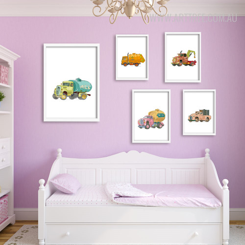 Minimal Tow, Garbage, Milk, Beer, Vintage Trucks Art for Kids