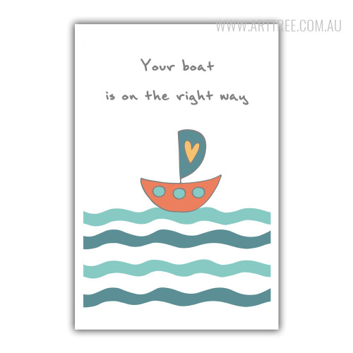 Your Boat is On The Right Way Words Kids Wall Decor