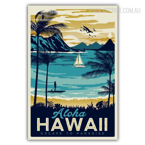 Aloha Hawaii Escape to Paradise Vintage Beach Print