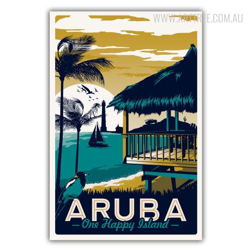 Aruba One Happy Island Vintage Poster Print