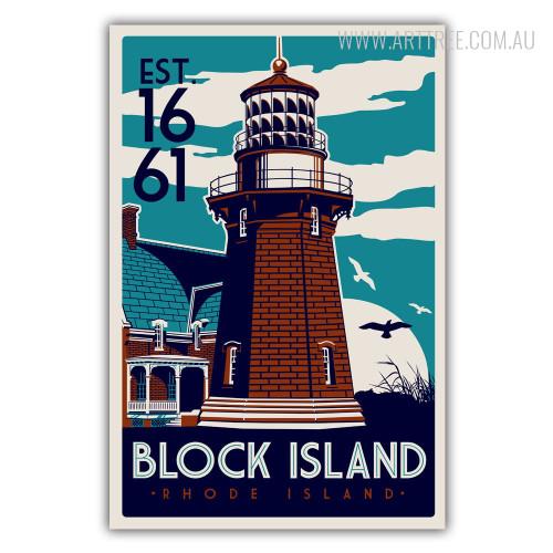Block Island in Rhode Island EST 1661 Vintage Wall Art