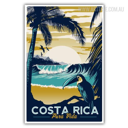 Costa Rica Pura Vida Vintage Travel Posters Print