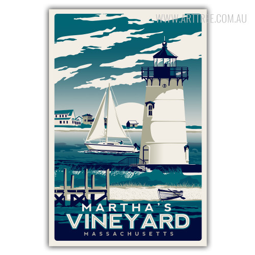 Martha's Vineyard Island in Massachusetts Vintage Art