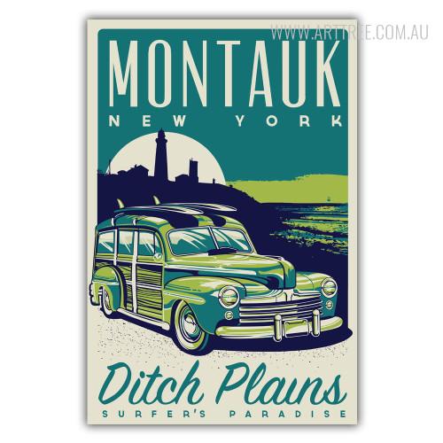Montauk New York Ditch Plains Surfer's Paradise Vintage Canvas