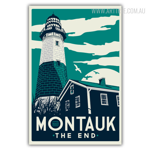 Montauk The End New York Village 1660 Vintage Canvas Wall Art