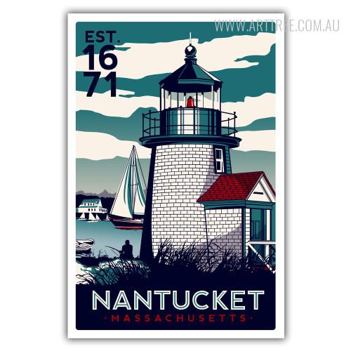 NanTucket Island in Massachusetts Vintage Poster Print