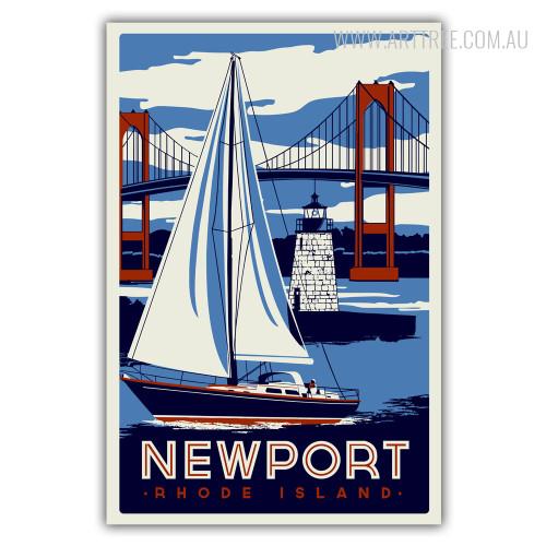 New Port Rhode Island Vintage Print