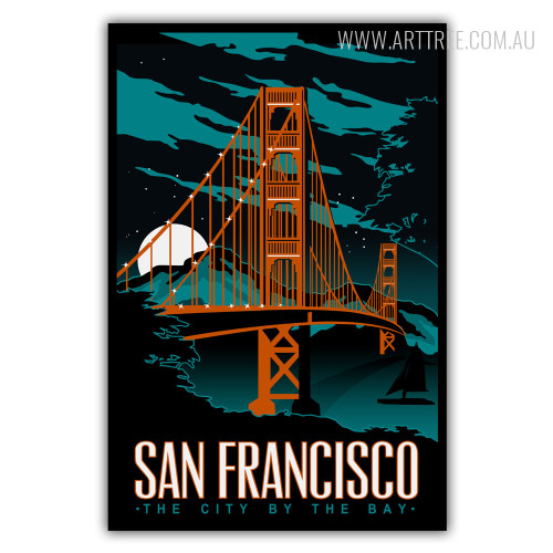 San Francisco The City By The Bay Vintage Poster Print