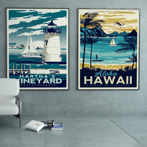 Martha's Vineyard Massachusetts Aloha Hawaii Vintage Beach Prints