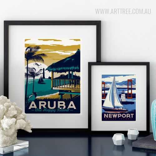 Aruba One Happy Island, New Port Rhode Island Vintage Travel Posters